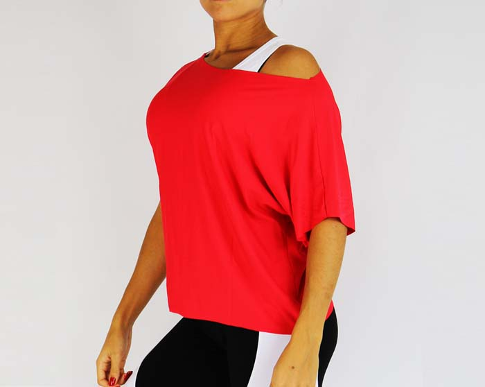 T-Shirt tombant rouge 014 3/4