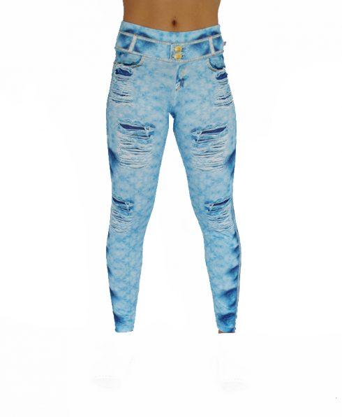 Legging a fake faux jean clair 100688 face