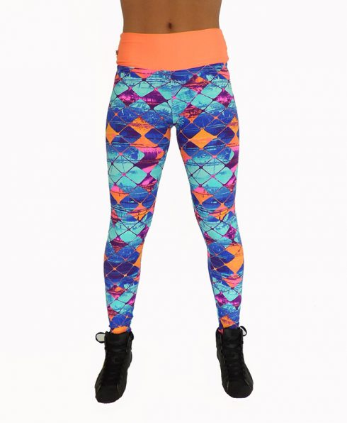 Legging a losanges bleu et orange coloré 100778 face